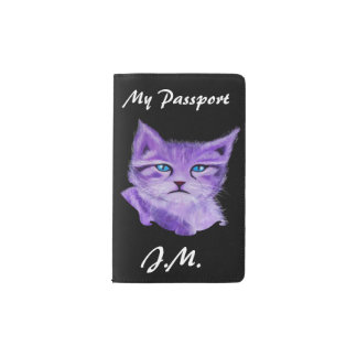 Purple painted Cat with blue eyes Pocket Moleskine Notebook