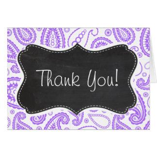 Purple Paisley Vintage Chalkboard look Greeting Card
