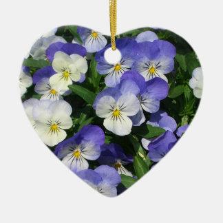 Purple Pansies Ceramic Heart Decoration