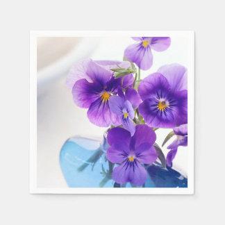 Purple Pansies Flowers Blue Vase Floral Pansy Disposable Napkins