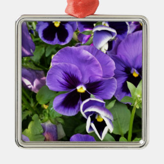 purple pansies Silver-Colored square decoration