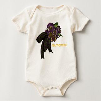Purple Pansies Tartan Bow Baby Bodysuit