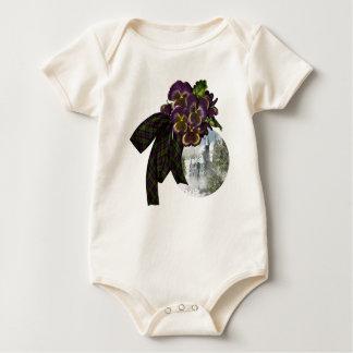 Purple Pansies Tartan Castle Baby Bodysuit