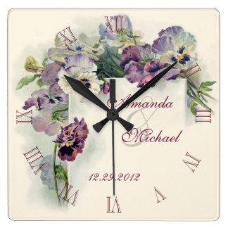 Purple pansies wedding anniversary clocks