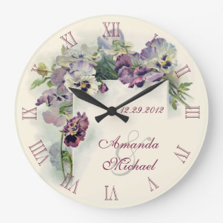 Purple pansies wedding anniversary wall clock