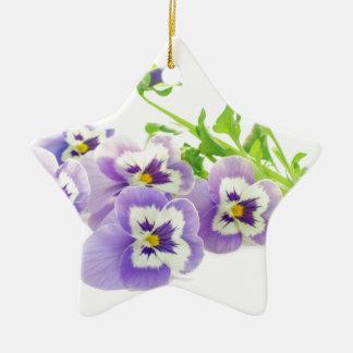 purple pansy ceramic star decoration