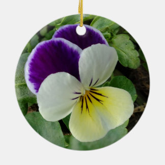 Purple pansy round ceramic decoration