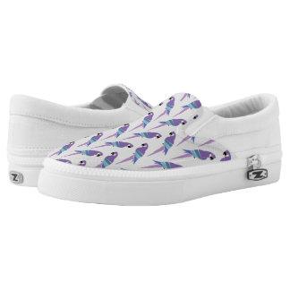 Purple Parrots Slip On Shoes