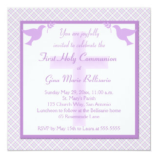 Purple, Pastels & Plaid First Communion Invitation