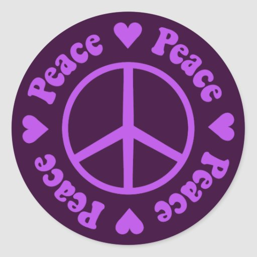 Purple Peace Sign Round Stickers