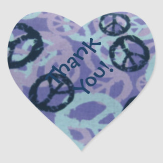 Purple Peace Signs Heart Stickers Thank You
