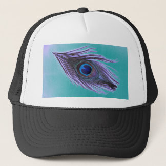 Purple Peacock Feather on Teal Trucker Hat