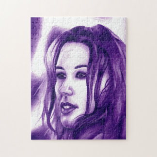 Purple People Woman Portrait Original Art Jigsaw Puzzle