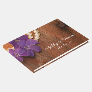 Purple Periwinkle Pearls Barn Wood Country Wedding Guest Book