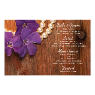Purple Periwinkle Pearls Barn Wood Wedding Menu