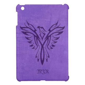 Purple Phoenix Fire Bird with Monogram, Initials Cover For The iPad Mini