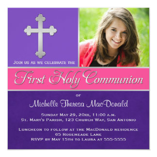 Purple, Pink 1st Holy Communion Photo Invite