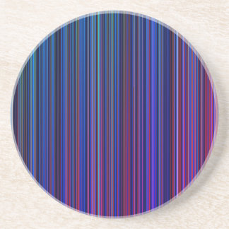 Purple pink aqua blue stripe sandstone coaster