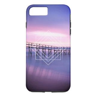 Purple & Pink Beach Sunset with Geometric Design iPhone 8 Plus/7 Plus Case