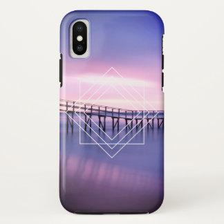 Purple & Pink Beach Sunset with Geometric Design iPhone X Case