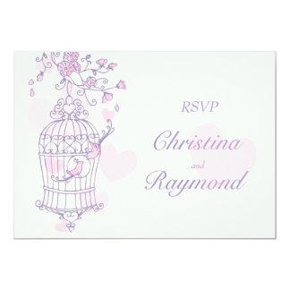 Purple & pink birds open cage wedding RSVP 13 Cm X 18 Cm Invitation Card
