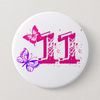 Purple, pink butterflies, '11' button for age 11.