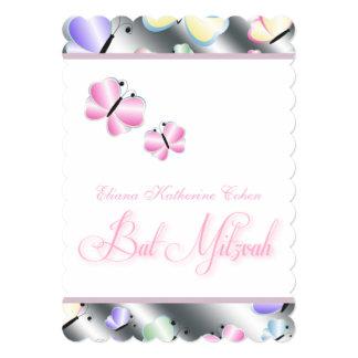 Purple Pink Butterfly Bat Mitzvah Card