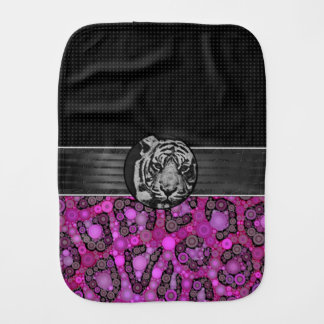 Purple Pink Cheetah Tiger Burp Cloths