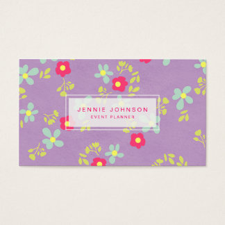 Purple Pink Cute Pattern Floral Business Card