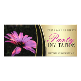 Purple Pink Flower Satin Gold Party Invitations