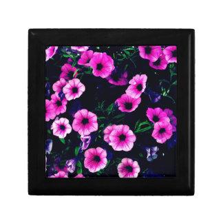 Purple pink flowers gift box
