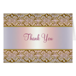 Purple PInk Gold Damask Thank You Cards