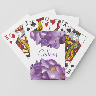 Purple Pink Hydrangea Blossom Watercolor Playing Cards