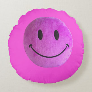 Purple Pink round pillow smiling face old style
