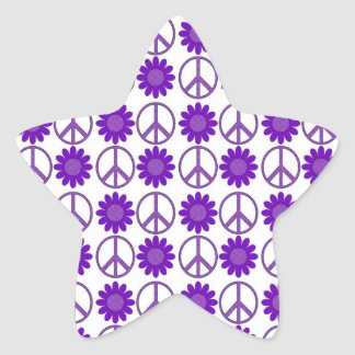 Purple Polka Dot Flowers and Peace Symbols Stickers