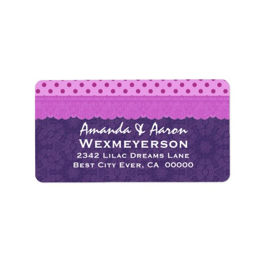Purple Polka Dots and Lace Wedding Paper Product 1 Label