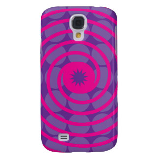 Purple Polka Dots and Pink Swirls Pattern Galaxy S4 Case