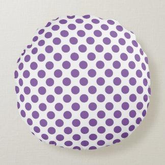Purple Polka Dots Round Cushion