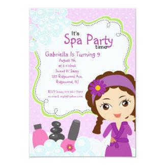 Purple Pretty Girl Spa Birthday Party 13 Cm X 18 Cm Invitation Card