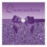 Purple Printed Sequins & Bow Quinceanera Invite