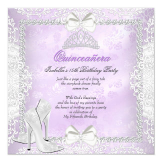 Purple Quinceanera 15th Birthday Party High Heels Card