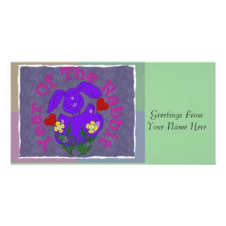 Purple Rabbit Photo Greeting Card