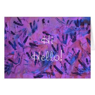 Purple Rainbow Hi Hello Greeting Card by Janz
