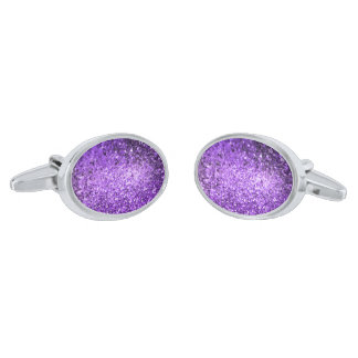 Purple Retro Glitter & Sparkles Pattern 3 Silver Finish Cufflinks