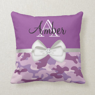 Purple Rhinestone and Camo Monogram Throw Pillow