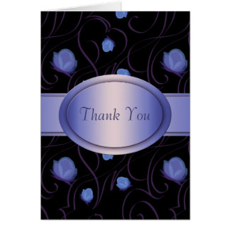 Purple Rose Swirl Thank You Card