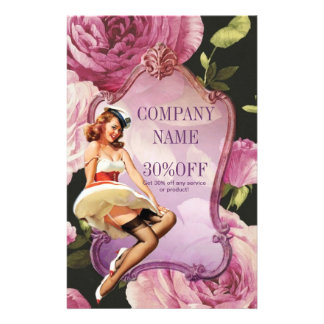 purple rose vintage girly makeup artist 14 cm x 21.5 cm flyer