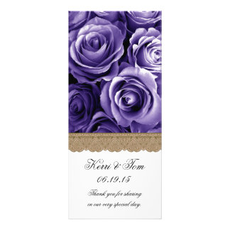 PURPLE ROSES and GOLD LACE Wedding Program Personalised Rack Card