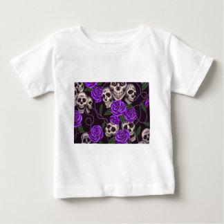 Purple Roses and skulls Baby T-Shirt