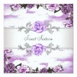 Purple Roses Purple Sweet 16 Party 13 Cm X 13 Cm Square Invitation Card